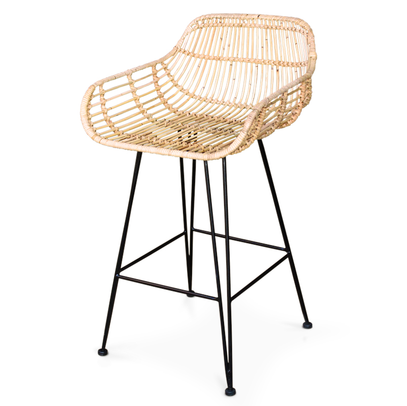 Forest | Rattan & iron bar stool