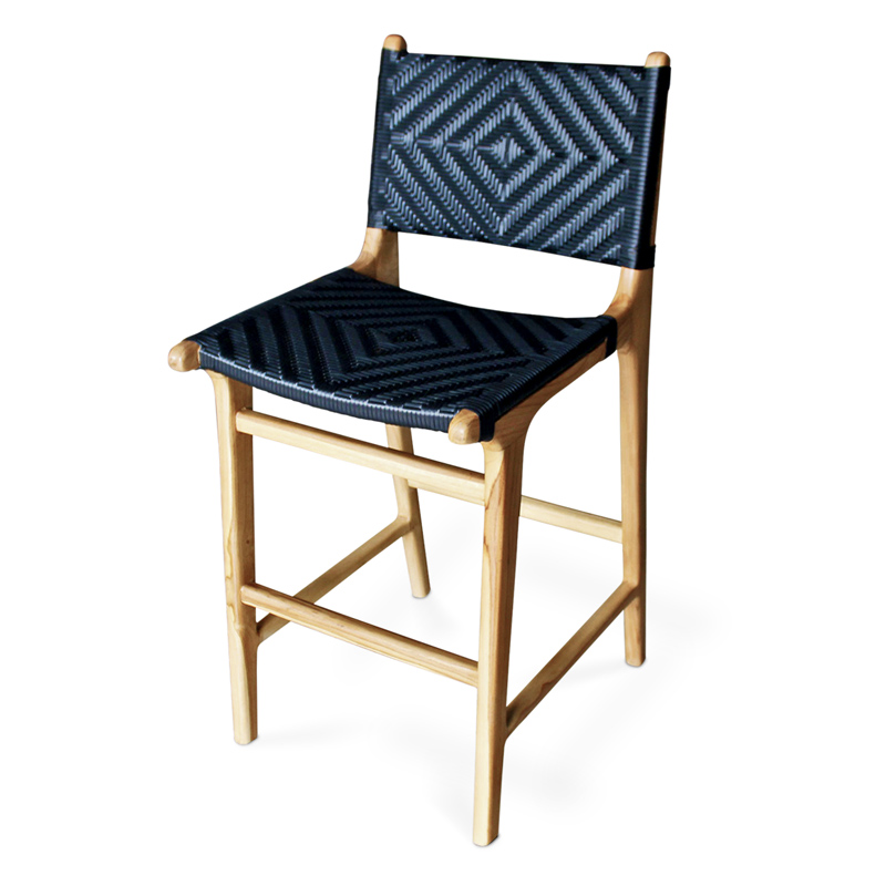 Noir | Teak & Wicker Bar Stool