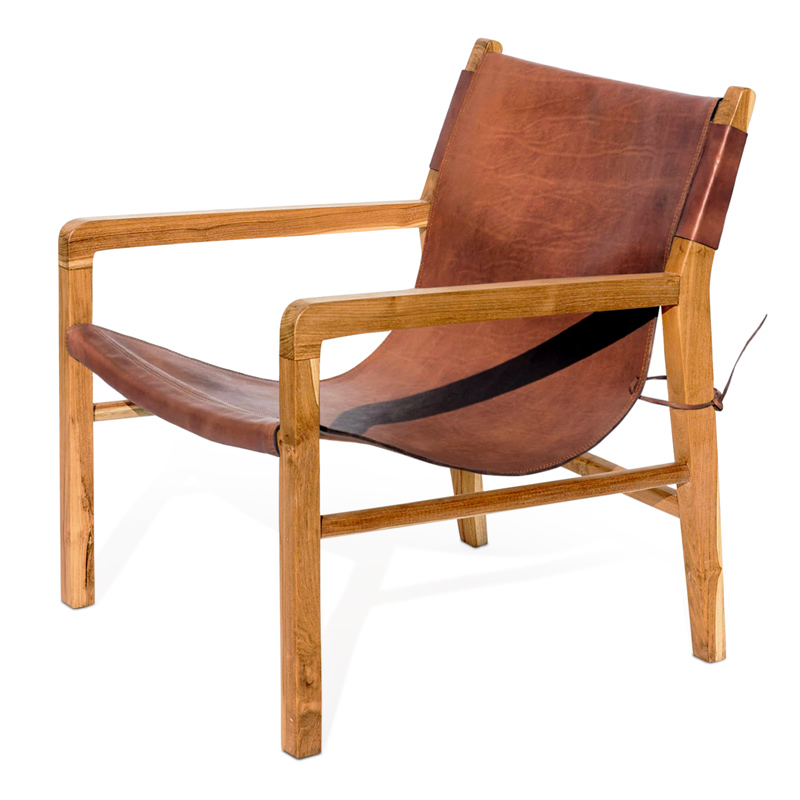 Sling | Teak & Honey Leather Lounger