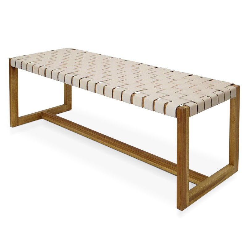 Bromo | Teak & leather bench