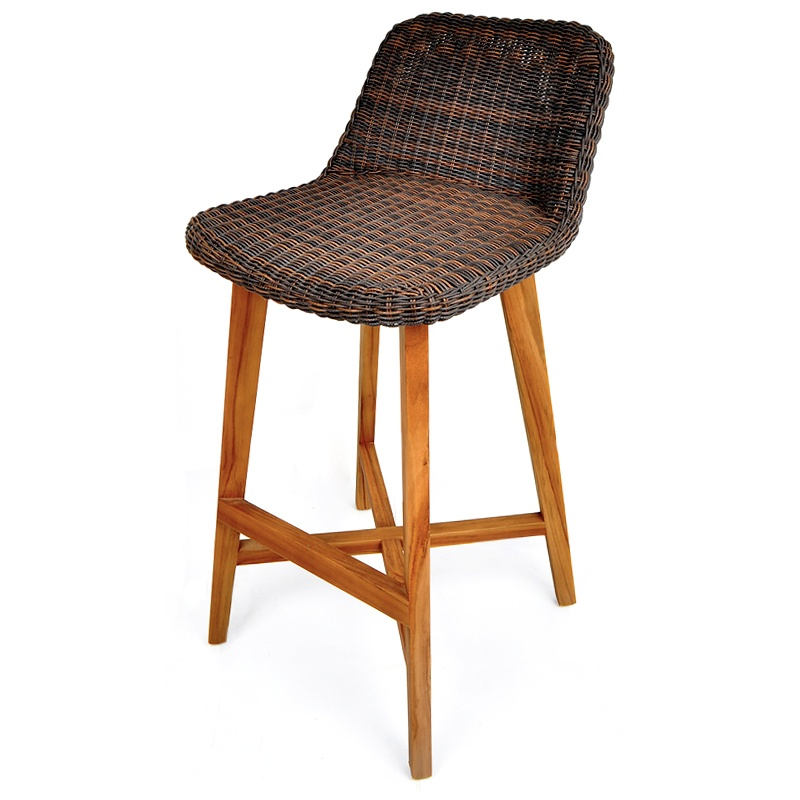 Cacao | Rattan & teak bar stool