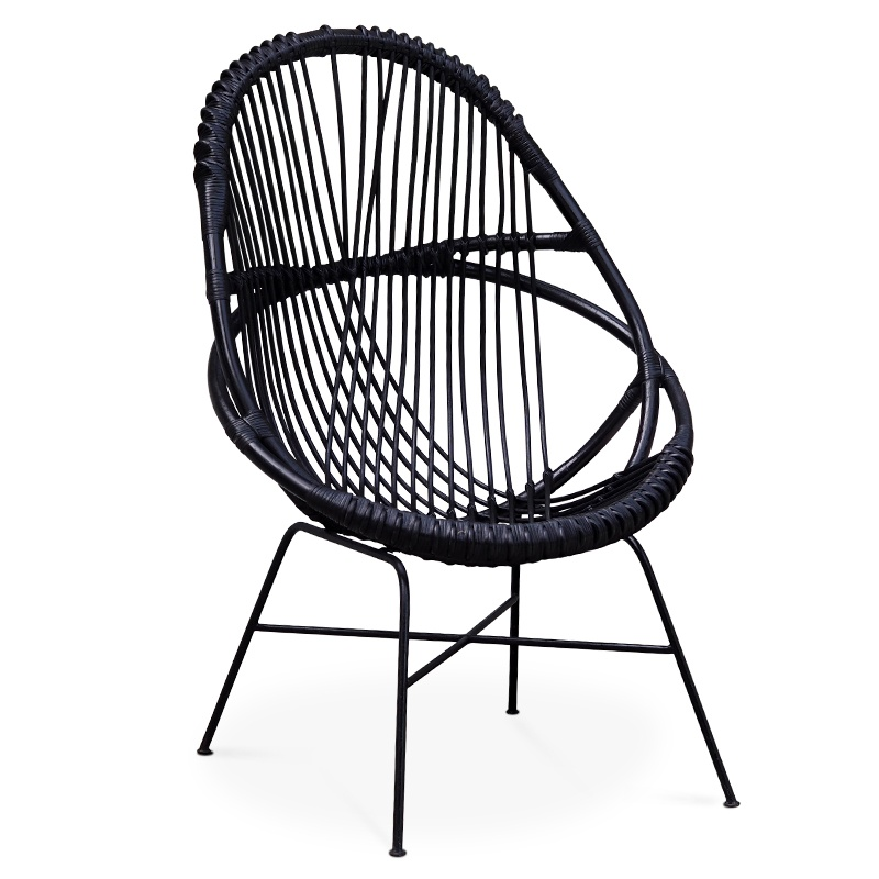 Diamond Black Rattan Lounger