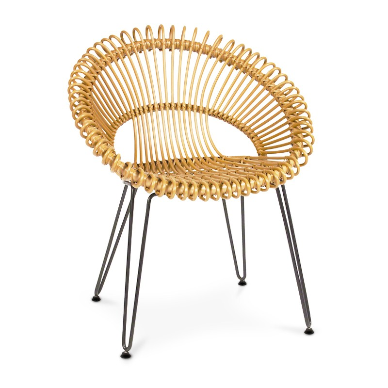 Flower | Cane rattan & iron dining chair
