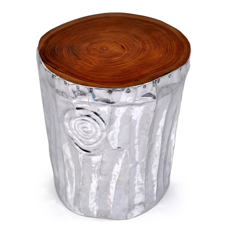 Glitter | Teak and aluminium stool