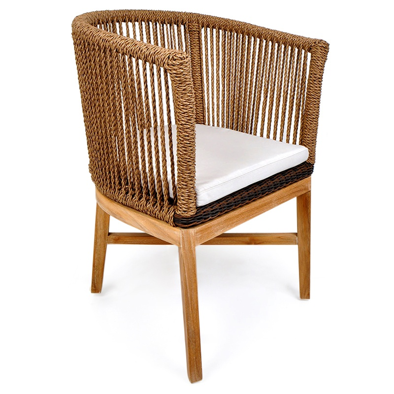 Green | Rattan & teak dining chair