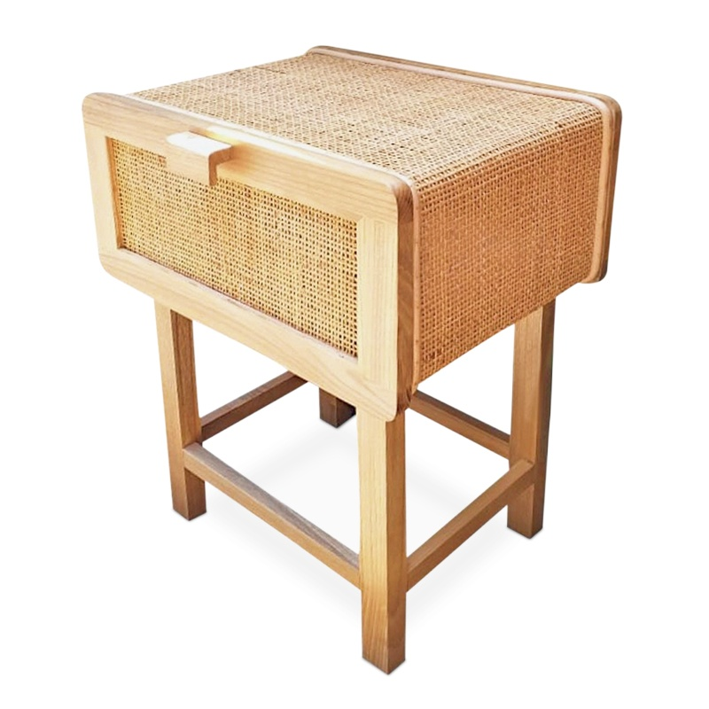 Heart | Rattan & teak bedside table