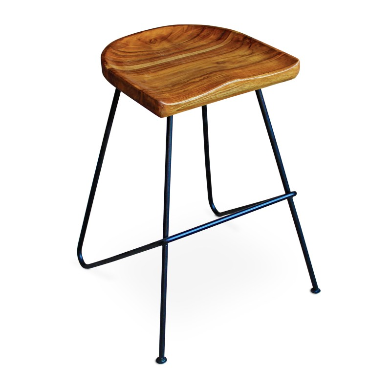 Origin | Teak & iron bar stool