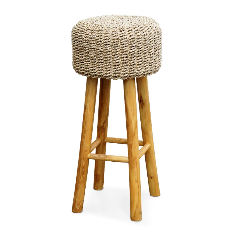 Palm | Teak & rattan bar stool