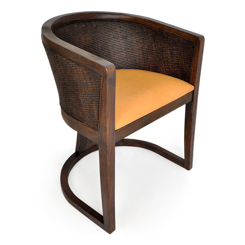 Root | Leather & teak dining chair