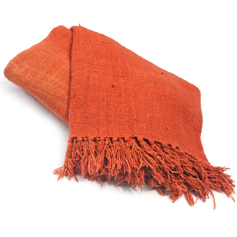 Saffron | Naturally dyed cotton throw