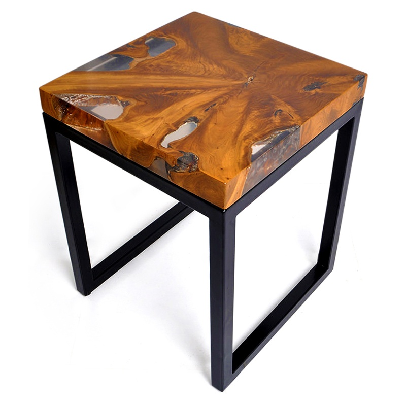 Salt | Resin & teak root side table