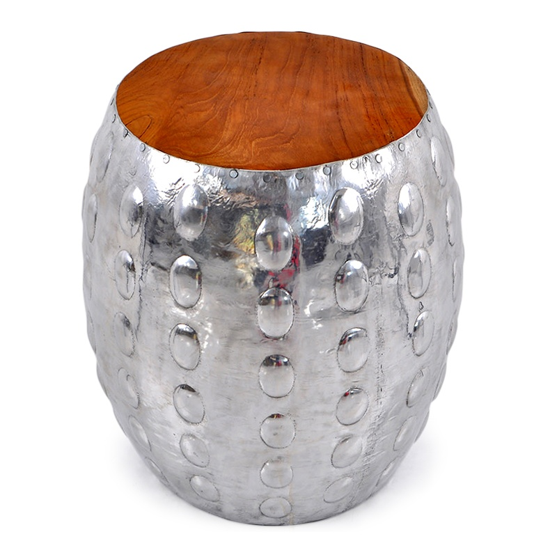 Shell | Teak and aluminium stool