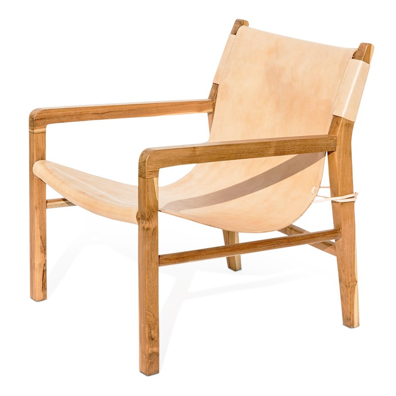 Sling | Teak & Natural Leather Lounger